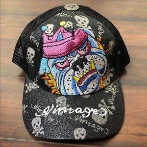 Black Embroidered Traditional Bulldog Baseball Hat